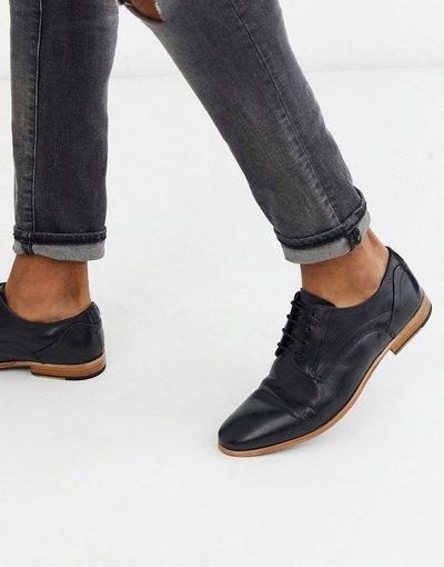 Scarpa elegante Nero uomo Scarpe stringate nere in pelle con suola beige - ASOS DESIGN - Nero
