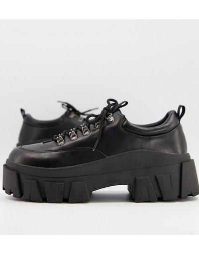 Novita Nero uomo Scarpe stringate nere in pelle sintetica con suola spessa - ASOS DESIGN - Nero