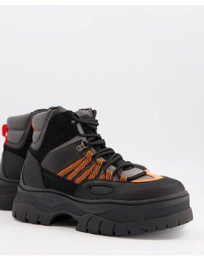 Stivali Nero uomo Scarponcini stringati in pelle sintetica nera e grigia con dettagli arancioni - ASOS DESIGN - Nero