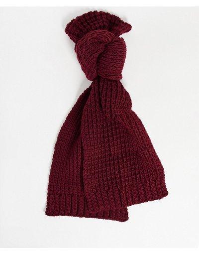 Rosso uomo Sciarpa bordeaux lavorata a maglia - ASOS DESIGN - Rosso