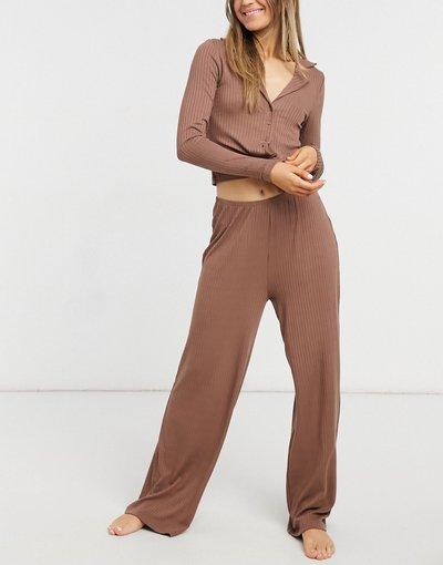 Pigiami Marrone donna Set pigiama con camicia e pantaloni a fondo ampio marrone a costine - ASOS DESIGN