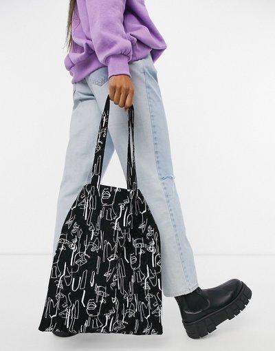 Portafoglio Nero donna Shopper grande in cotone con stampa di volto astratto - ASOS DESIGN - Nero
