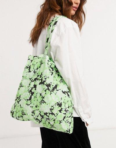 Borsa Multicolore donna Shopper in cotone organico con stampa floreale verde - ASOS DESIGN - Multicolore