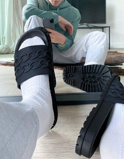 Novita Nero uomo Sliders con catena nera in rilievo - ASOS DESIGN - Nero