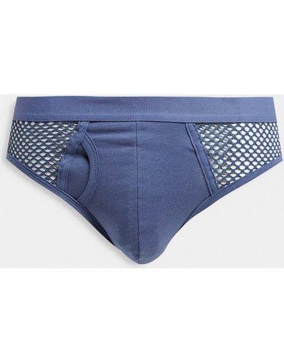 Intimo Blu navy uomo Slip a rete blu - ASOS DESIGN - Blu navy
