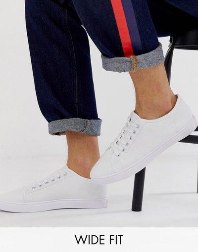 Sneackers Bianco uomo Sneakers di tela bianche a pianta larga - ASOS DESIGN - Bianco