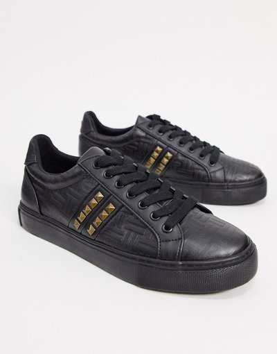 Stivali Nero uomo Sneakers in rilievo nere con borchie - ASOS DESIGN - Nero