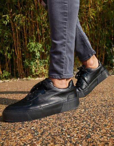 Sneackers Nero uomo Sneakers nere con suola spessa - ASOS DESIGN - Nero