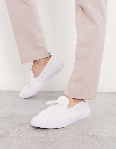 Sneackers Bianco uomo Sneakers senza lacci bianche con nappe - ASOS DESIGN - Bianco