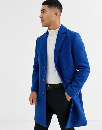 Blu uomo Soprabito blu in misto lana - ASOS DESIGN