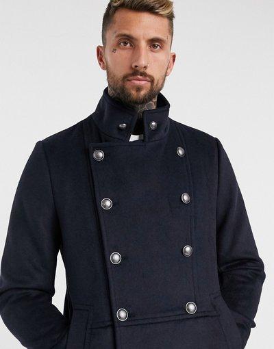 Navy uomo Soprabito doppiopetto in misto lana blu navy con dettaglio militare - ASOS DESIGN