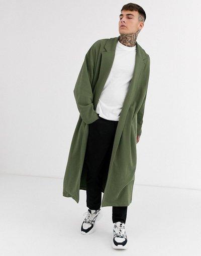 Verde uomo Spolverino lungo e ultra oversize in jersey color kaki - ASOS DESIGN - Verde