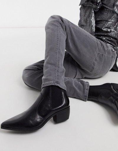Stivali Nero uomo Stivaletti Chelsea in ecopelle nera stile western con tacco cubano e suola angolata - ASOS DESIGN - Nero