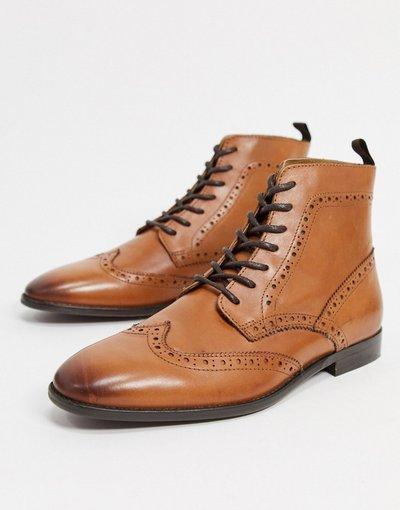Scarpa elegante Cuoio uomo Stivaletti stringati color cuoio in pelle con suola naturale - ASOS DESIGN