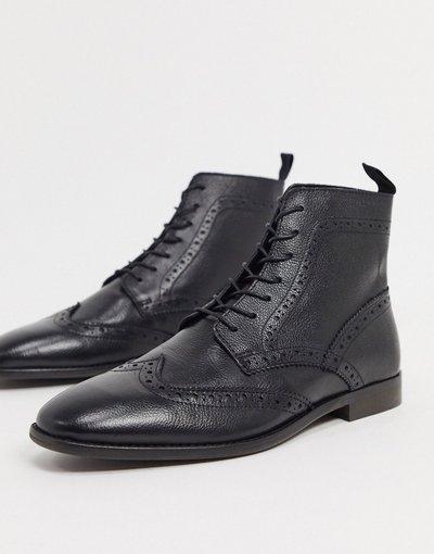 Scarpa elegante Nero uomo Stivaletti stringati in pelle nera con suola in fibre naturali - ASOS DESIGN - Nero