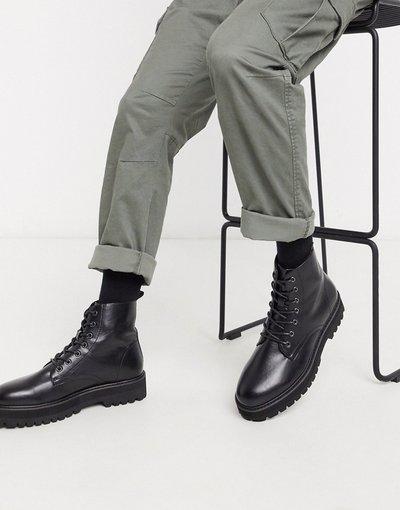 Sneackers Nero uomo Stivali chunky stringati in ecopelle neri - ASOS DESIGN - Nero
