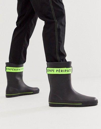 Novita Nero uomo Stivali da pioggia neri con fascia verde - ASOS DESIGN - Nero