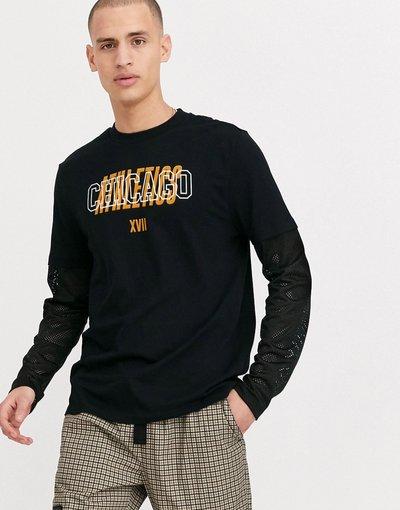 T-shirt Nero uomo shirt a maniche lunghe in rete a doppio strato con stampa sul petto - ASOS DESIGN - Nero - T