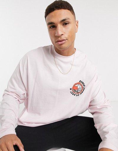T-shirt Rosa uomo shirt a maniche lunghe oversize in cotone organico con stampa piccola sul petto colore rosa - ASOS DESIGN - T