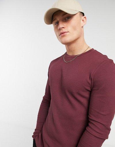 T-shirt Rosso uomo shirt attillata a maniche lunghe a nido d'ape bordeaux - ASOS DESIGN - Rosso - T