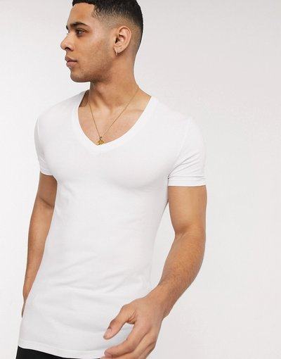 T-shirt Bianco uomo shirt attillata bianca con profondo scollo a V - ASOS DESIGN - Bianco - T