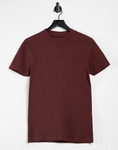 T-shirt Marrone uomo shirt attillata in tessuto organico marrone - ASOS DESIGN - T