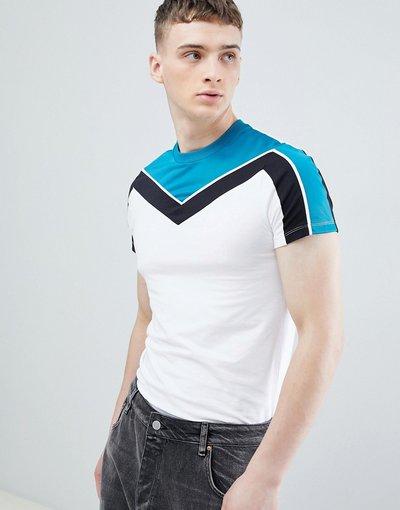 T-shirt Bianco uomo shirt attillata in tricot di poliestere bianco a spina di pesce - ASOS DESIGN - T