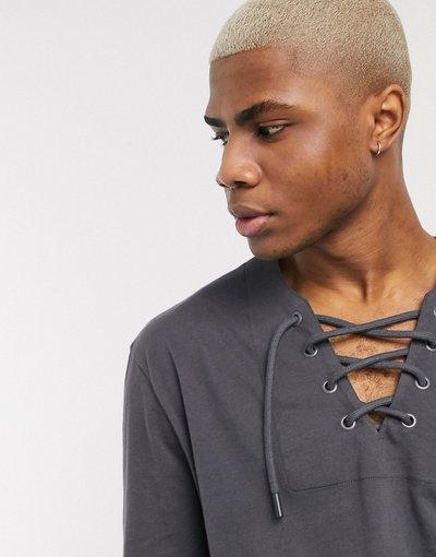 T-shirt Nero uomo shirt comoda a maniche lunghe con scollo profondo stringato - ASOS DESIGN - Nero - T