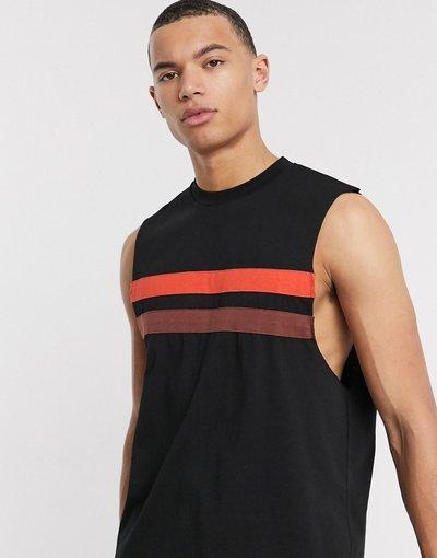T-shirt Nero uomo shirt comoda senza manighe nera con giromanica ampio e pannelli a contrasto - ASOS DESIGN - Nero - T