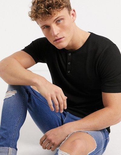 Novita Nero uomo shirt con collo serafino attillata in maglia nera - ASOS DESIGN - Nero - T