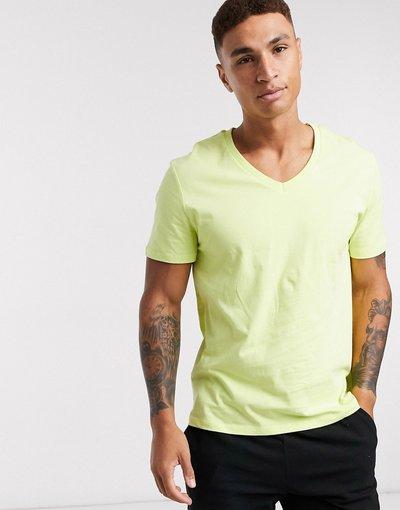 T-shirt Giallo uomo shirt con scollo a V - ASOS DESIGN - Giallo - T