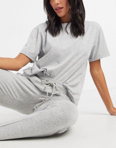 Pigiami Grigio donna shirt del pigiama mix&match in jersey grigio mélange - ASOS DESIGN - T
