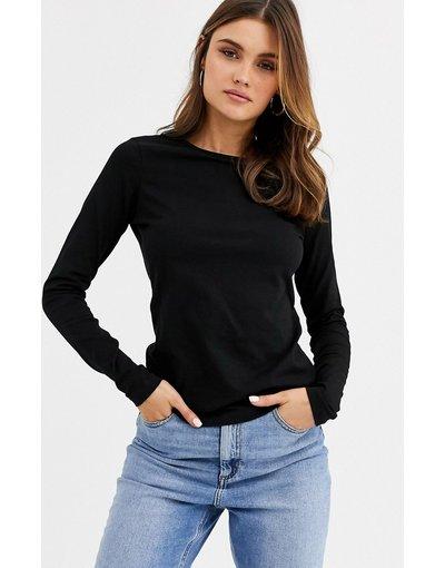 T-shirt Nero donna shirt girocollo a maniche lunghe in cotone organico nera - ASOS DESIGN - Nero - T