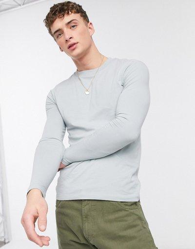 T-shirt Grigio uomo shirt girocollo attillata a maniche lunghe grigia - ASOS DESIGN - Grigio - T