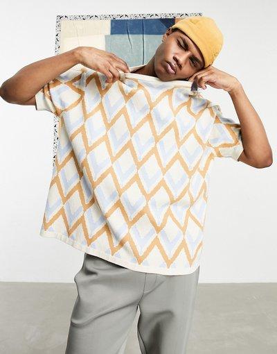 Beige uomo shirt in maglia con motivo a spina di pesce tono su tono beige - ASOS DESIGN - T