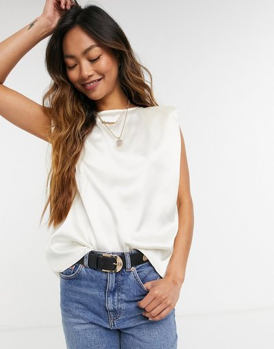 T-shirt Bianco donna shirt in raso con spalle imbottite, color avorio - ASOS DESIGN - Bianco - T