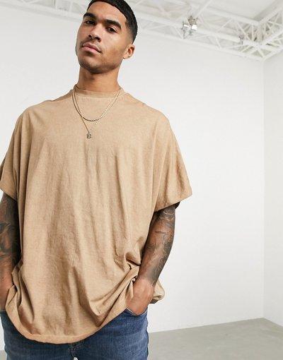 T-shirt Beige uomo shirt lunga extreme oversize organica lavaggio a pigmenti - ASOS DESIGN - Beige - T
