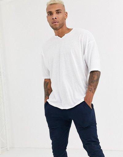 T-shirt Bianco uomo shirt lunga oversize in misto lino bianco con intaglio a V sullo scollo - ASOS DESIGN - T