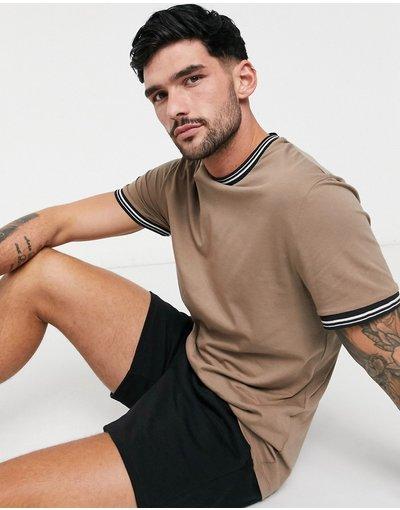 T-shirt Marrone uomo shirt marrone con bordature a contrasto - ASOS DESIGN - T