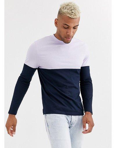 T-shirt Navy uomo shirt organica a maniche lunghe blu navy con carré a contrasto - ASOS DESIGN - T