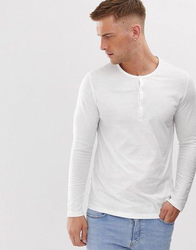 T-shirt Bianco uomo shirt organica bianca a maniche lunghe con collo serafino - ASOS DESIGN - Bianco - T