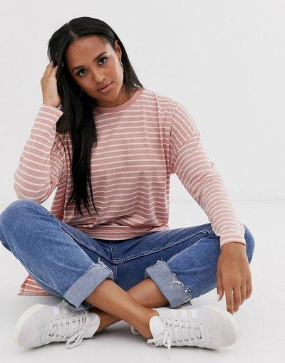 T-shirt Multicolore donna shirt oversize a maniche lunghe a righe effetto dévoré - ASOS DESIGN - Multicolore - T