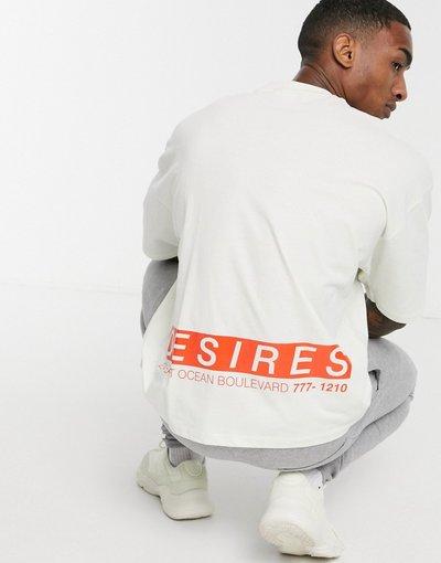 T-shirt Beige uomo shirt oversize beige con linguetta sul collo e grande stampa sul retro - ASOS DESIGN - T