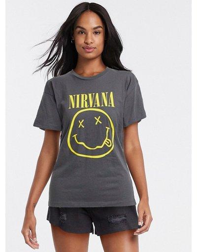 T-shirt Grigio donna shirt oversize con stampa dei Nirvana - ASOS DESIGN - Grigio - T
