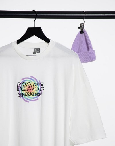 T-shirt Bianco uomo shirt oversize con stampa sul petto con scrittaPeace Generation- ASOS DESIGN - Bianco - T