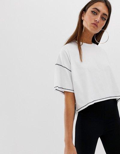 T-shirt Bianco donna shirt oversize corta asimmetrica con cuciture a contrasto - ASOS DESIGN - Bianco - T