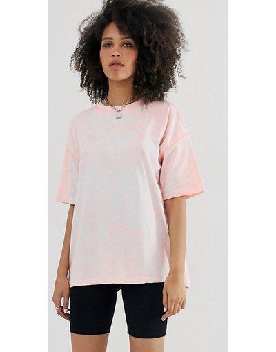 T-shirt Rosa donna shirt oversize lavaggio acido con cuciture a contrasto - ASOS DESIGN - Rosa - T