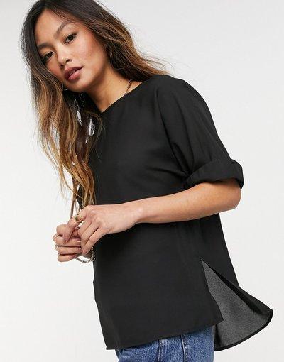 T-shirt Bianco donna shirt oversize nera con maniche con risvolto - ASOS DESIGN - Bianco - T
