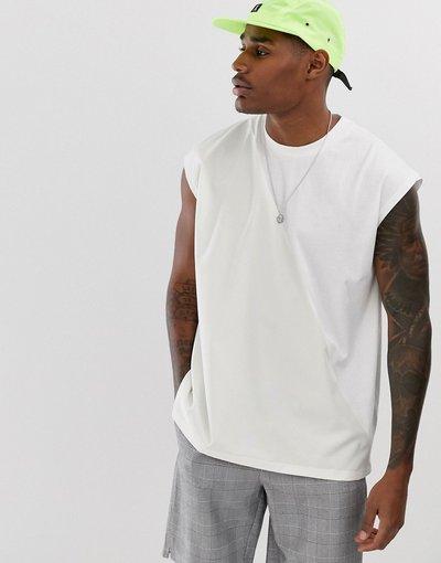 T-shirt Bianco uomo shirt oversize senza maniche bianca a pannelli - ASOS DESIGN - Bianco - T