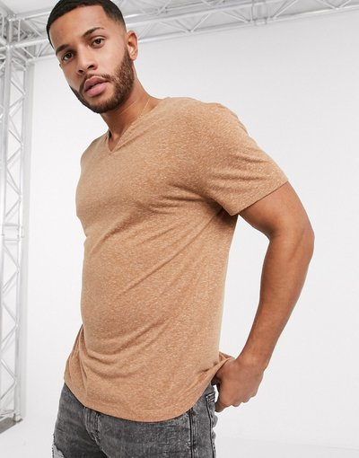 T-shirt Marrone uomo shirt stile caftano comoda in misto lino color cuoio - ASOS DESIGN - Marrone - T